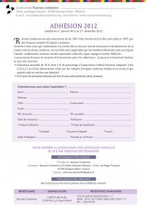 Image du bulletin d'adhésion 2012 à Racines coréennes