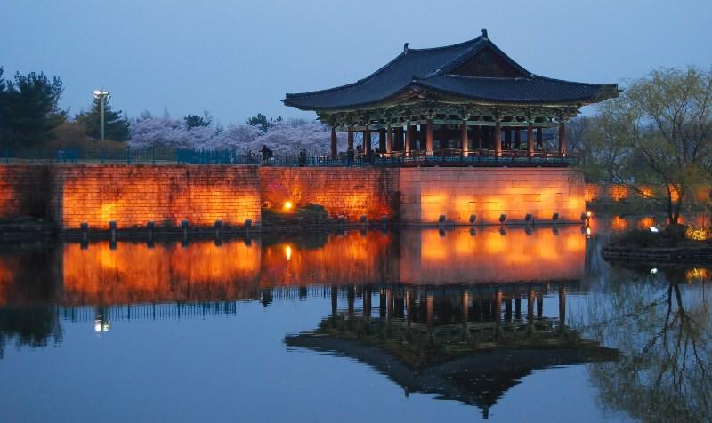 Photo étang du parc national de Gyongju