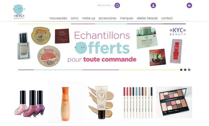 copie d'ecran du site de KYC BEAUTY