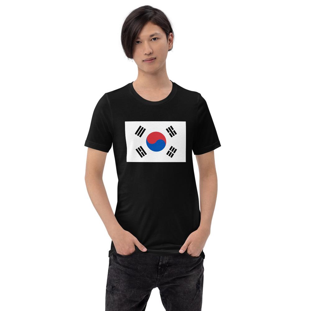 T-shirt Unisexe à Manches Courtes – Drapeau Coréen