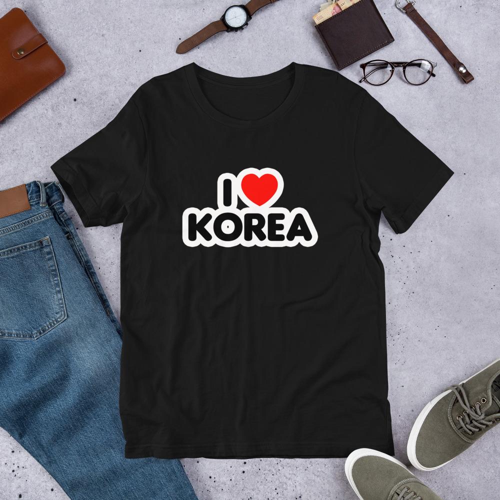 T-shirt Unisexe à Manches Courtes – I love Korea