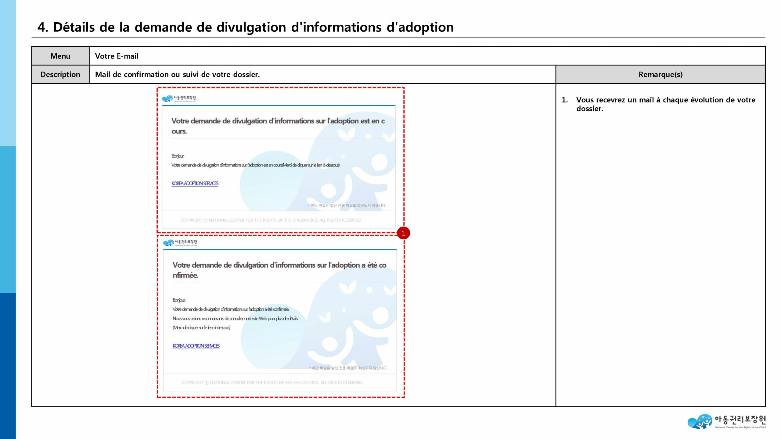 recherche biologique du NCRC (National Center for the Rights of the Child)